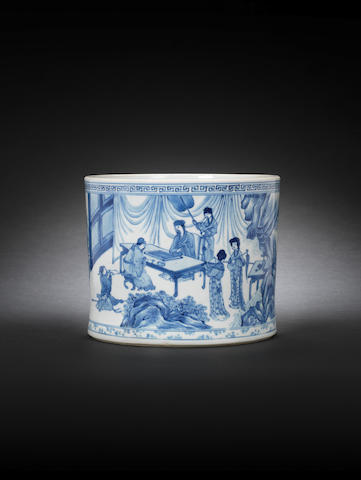 A blue and white cylindrical brush holder with scholars in a pavilion, the rim unglazed (base chip restored), early Kangxi
