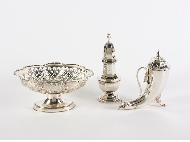 A silver pedestal dish Chester, 1924,  (3)