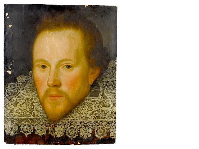 Follower of Marcus Gheeraerts the Younger (Bruges 1561-1635 London) Portrait of a gentleman, bust-length, with a red embroidered tunic and a white lace collar