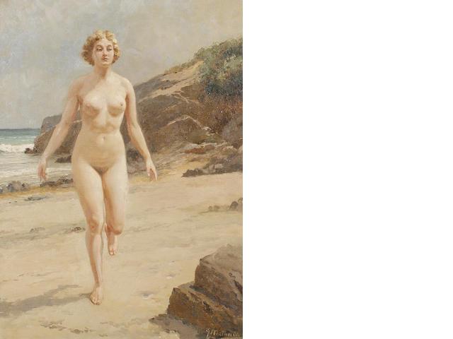 Fortunino Matania (Italian, 1881-1963) Portrait of a nude on a beach