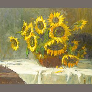 Adriaan Hendrik Boshoff (South African, 1935-2007) Vase of sunflowers