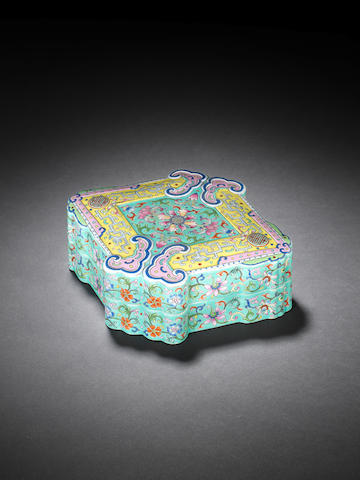 A famille rose turquoise-ground lozenge-shaped box and cover Qianlong seal mark
