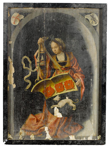 Workshop of Bernaert van Orley (Brussels 1488-1541) A female figure holding an heraldic shield, within a painted niche