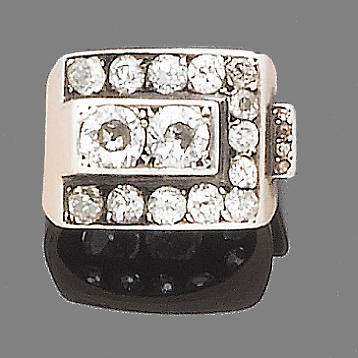 A diamond buckle ring,