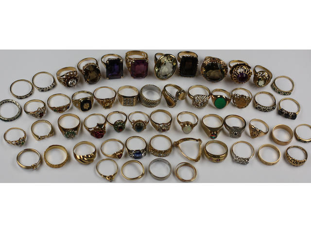 A collection of assorted rings,