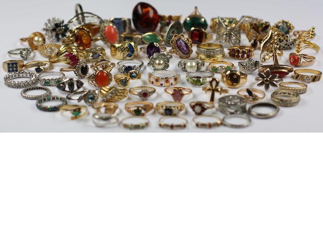 A large collection of assorted rings,