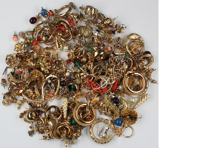 A collection of earrings,