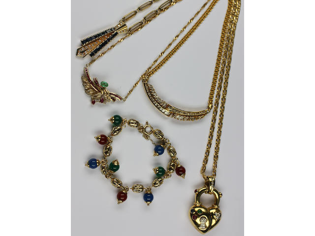 Four various diamond and gem set necklaces,
