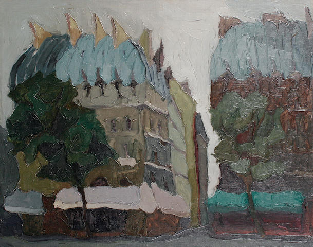 (n/a) Toti Scialoja (Italian, 1914-2001) Palazzi a Place Saint Michel, Parigi