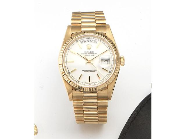 Rolex. An 18ct gold automatic centre seconds bracelet watch Day-Date, Ref.18238, Case No.L743278, Circa 1989
