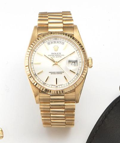 Rolex. An 18ct gold automatic centre seconds bracelet watchDay-Date, Ref.18238, Case No.L743278, Circa 1989