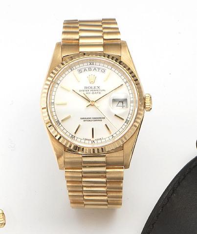 Rolex. An 18ct gold automatic centre seconds bracelet watch Day-Date, Ref.18238, Case No.L743278, Circa 1989