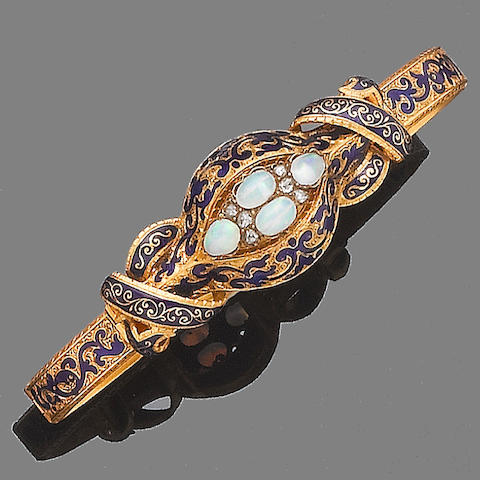 A mid-19th century opal and blue enamel bracelet