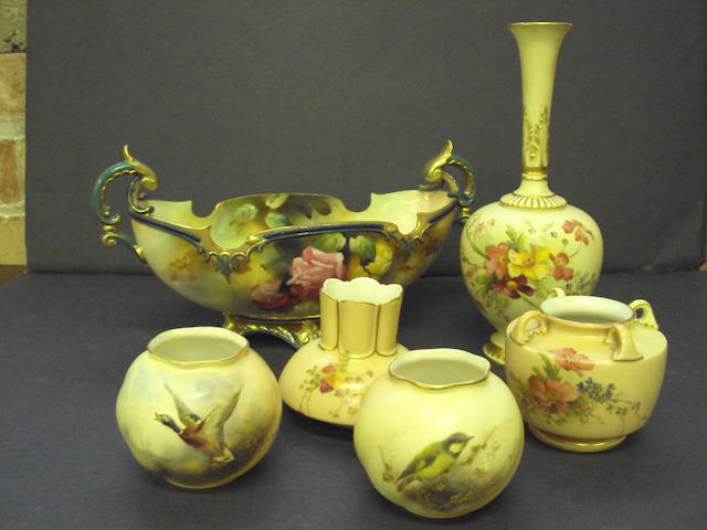 A small collection of Royal Worcester blush ivory items