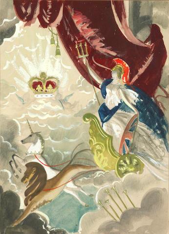 Doris Clare Zinkeisen (British, 1898-1991) Coronation design, 1953