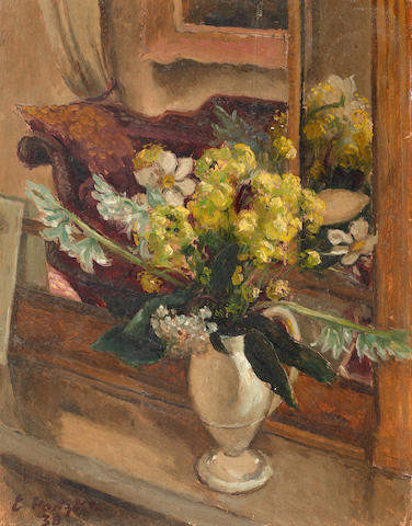 Eliot Hodgkin (British, 1905-1987) Still life of flowers in a jug, on a window ledge
