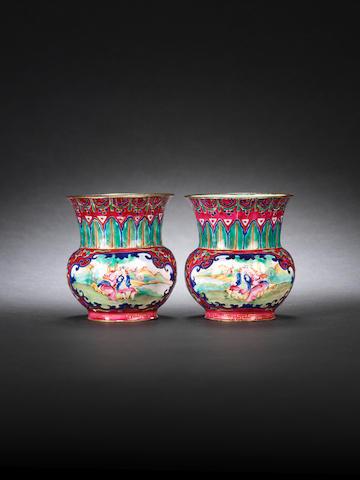 A pair of Guangzhou painted enamelled 'European subject' vases, Zhadou Qianlong/ Jiaqing