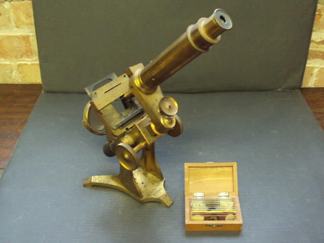 A brass microscope