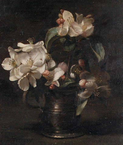 Jan Hendrik Eversen (Dutch, 1906-1995) Apple blossom in a pewter tankard