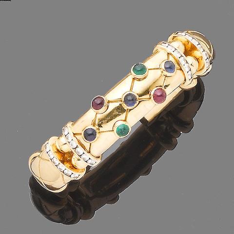 A gem-set torque bangle
