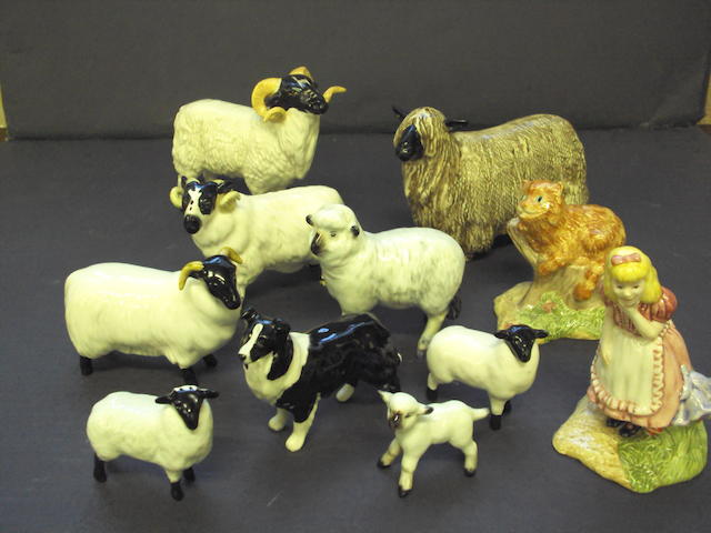 A collection of Beswick sheep