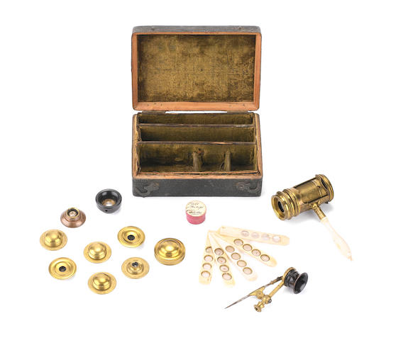 A brass screw-barrel microscope, English,  second quarter of the 18th century,