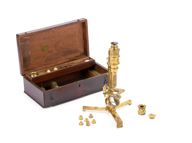 A George Adams Cuff-type compound monocular microscope, English,  third quarter of the 19th century,