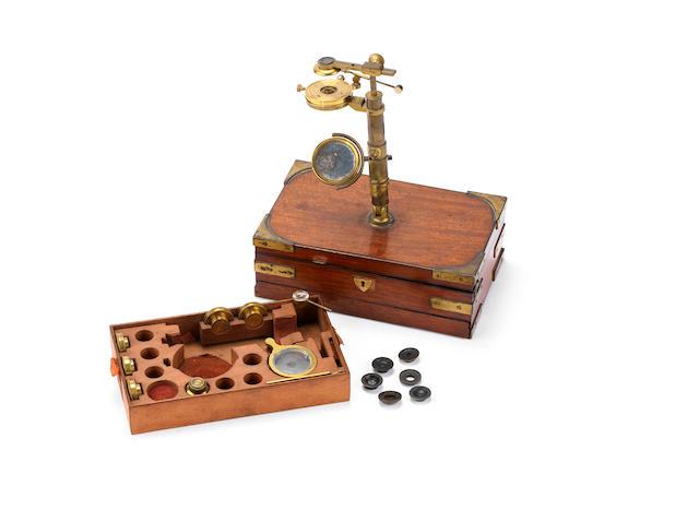 A rare Robert Banks traveling simple microscope, English,  circa 1825,