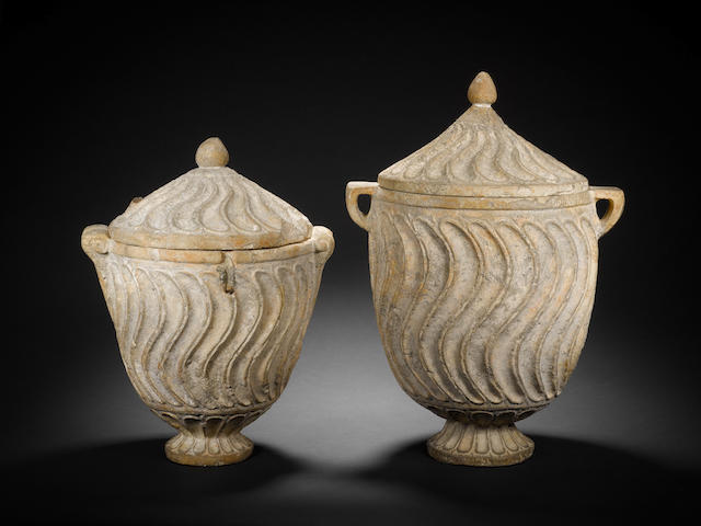 Two Etruscan strigillated lidded cinerary urns 2