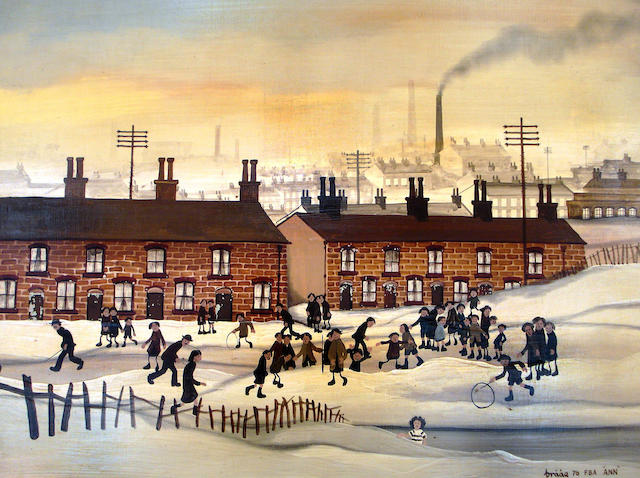 Brian Shields  (Braaq) (British, 1951-1997) Children Playing in the snow in front of terrace houses in an industrial landscape, possibly Runcorn,