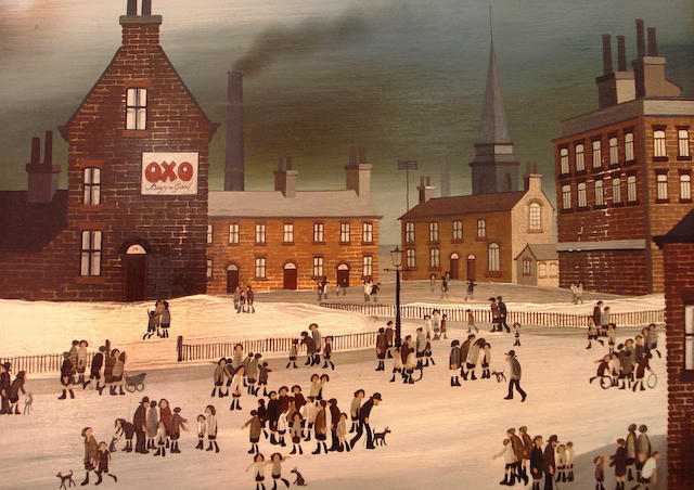 Brian Shields  (Braaq) (British, 1951-1997) Figures in the snow in an industrial landscape with an OXO advert on the end of a terrace,