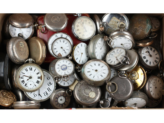 A collection of pocket watches, mainly 19th Century and later, in silver base metal and engraved cases, also fob watches, etc.