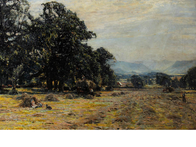 Herbert F. Royle (British, 1870-1958) Haymaking landscape, Nessfield