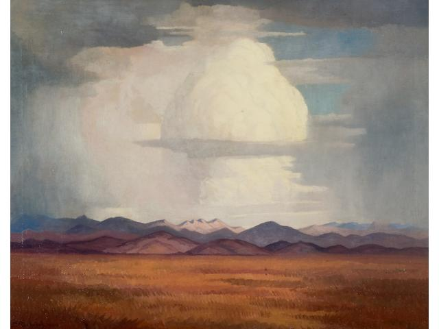 Jacob Hendrik Pierneef (South African, 1886-1957) Storm clouds over the veld