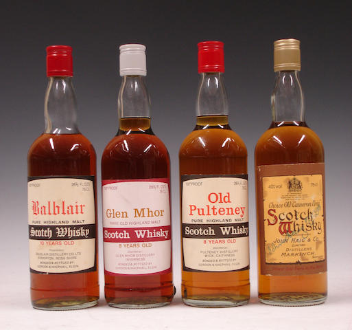 Balblair-10 year oldGlen Mhor-8 year oldOld Pulteney-8 year oldChoice Old Cameron Brig