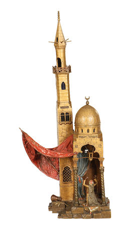 Franz Bergman, Austrian (1861-1936) A large cold painted bronze lamp base modelled as a mosque