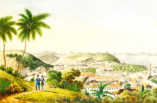 Brazilian School, circa 1840 A set of six Brazilian landscapes  each 11 x 16.6cm (4 5/16 x 6 9/16in) (picture size), (6).