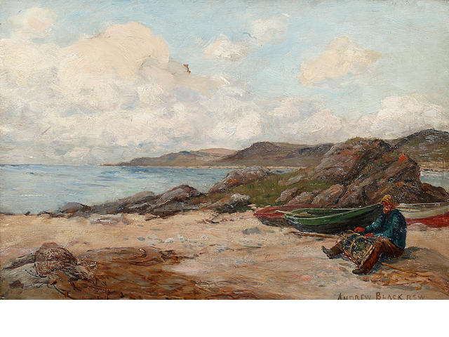 "Andrew Black, RSW (British, 1850-1916) ""Amid the waste and lumber of the shore"""