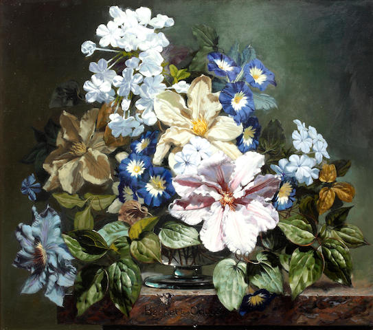 Bennett Oates (British, born 1928) Still life of summer flowers on a stone ledge