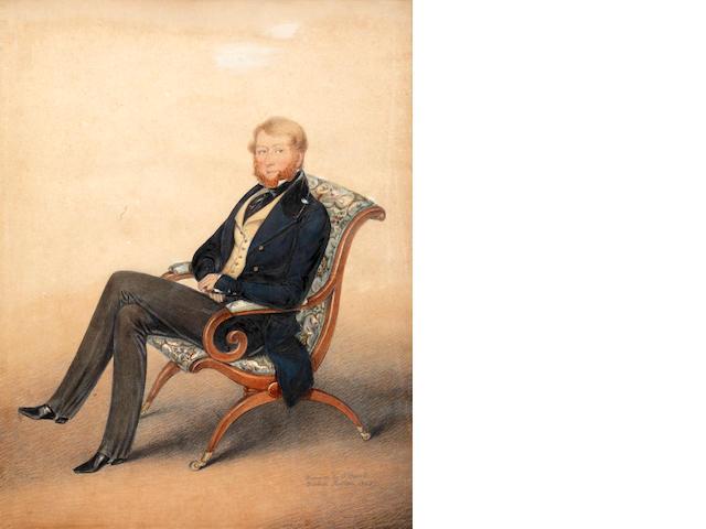 Albin Roberts Burt (British, 1783-1842) Portrait of a gentleman; and companion portrait of a lady