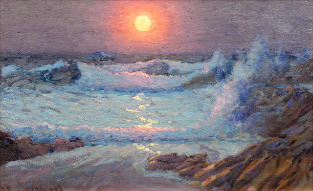 John Sanderson Sanderson-Wells, RI (British, 1872-1955) Sunset on the Cornish Coast