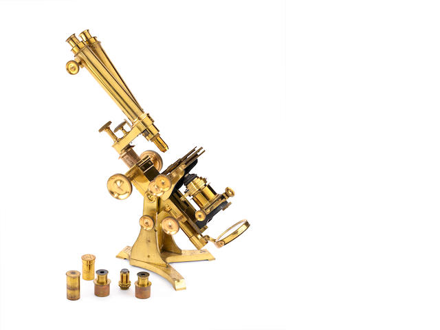 A large Newton & Co Ross-pattern brass compound binocular microscope,  English,  1860's,