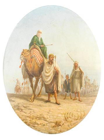 Girolamo Gianni (Italian, 1837-1895) Desert scenes, a pair each 27.5 x 22.5cm (10 13/16 x 8 7/8in), (2).