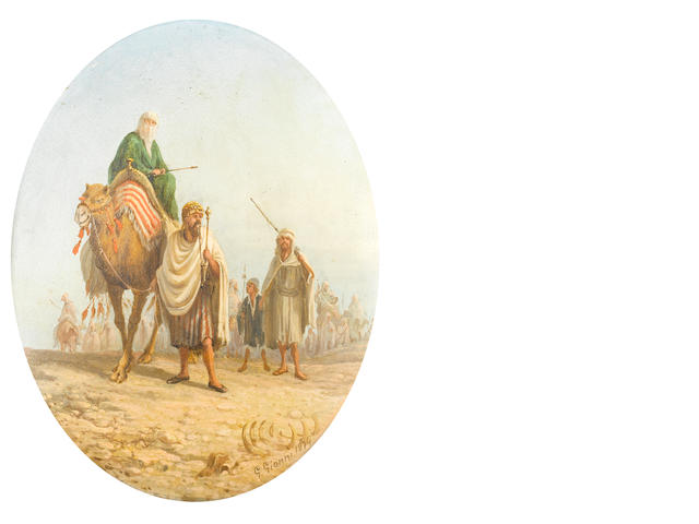 G. Gianni (Italian, 19th Century) A pair of oval framed paintings depicting desert scenes one ilegibly inscribed (verso)