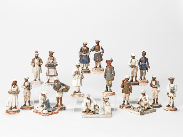 A group of seventeen terracotta Indian figures 19th Century(17)