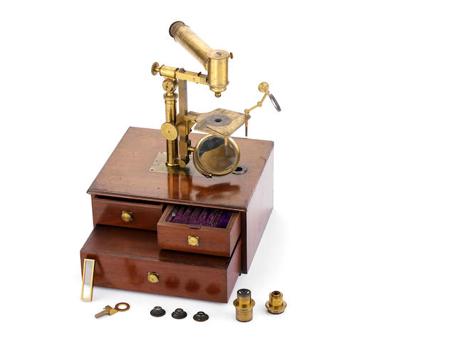 A horizontal compound monocular microscope,  French,  second quarter of the 19th century,