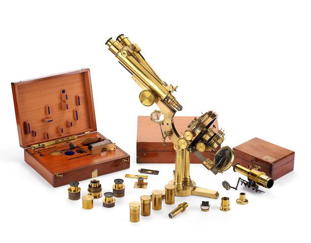 An R & J Beck brass binocular compound microscope, English, circa 1870,