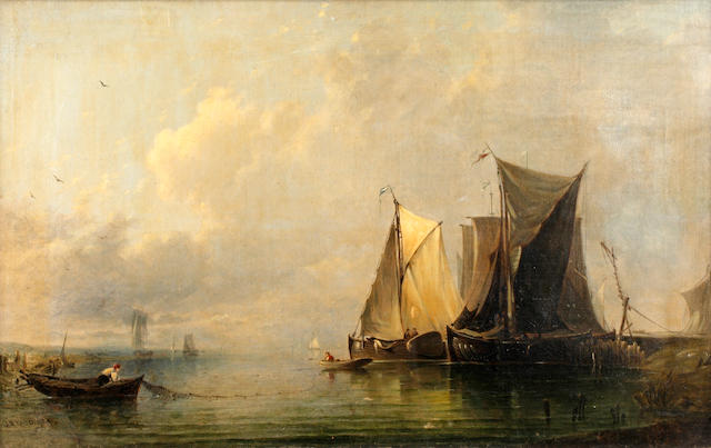 Joseph Bartholemew Kidd (British, 1806-1889) 'Dutch Boats in a Calm'