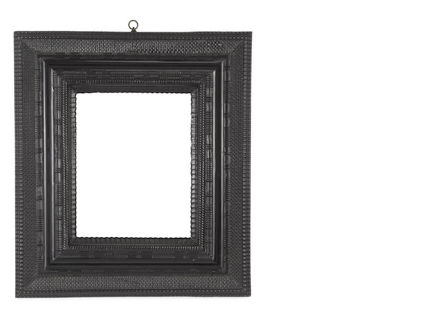 A Dutch 17th Century ebonised ripple moulding frame