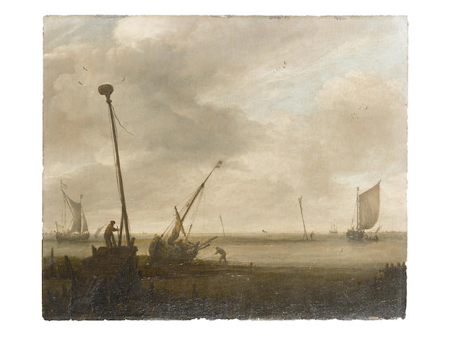 Follower of Jan Josefsz. van Goyen (Leiden 1596-1656 The Hague) Low tide on the Dutch coast, with a hoy on the foreshore and other coastal craft at anchor nearby; and British frigates and other vessels offshore in a swell, with a Dutch hoy – traditionally identified as the Minerva of Vlissingen – heading out to sea (2)